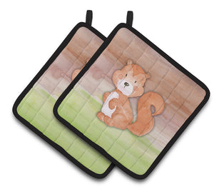 Buy this Squirrel Watercolor Pair of Pot Holders BB7439PTHD