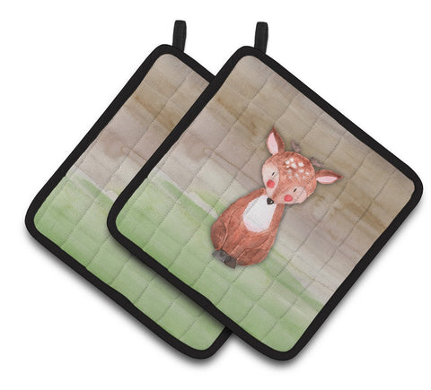 Buy this Baby Deer Watercolor Pair of Pot Holders BB7442PTHD