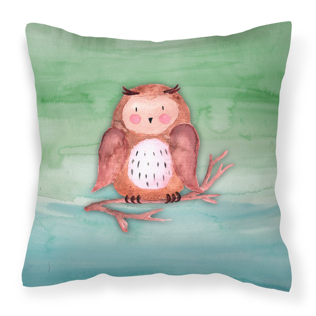 Brown Owl Watercolor Fabric Decorative Pillow BB7443PW1818 by Caroline's Treasures