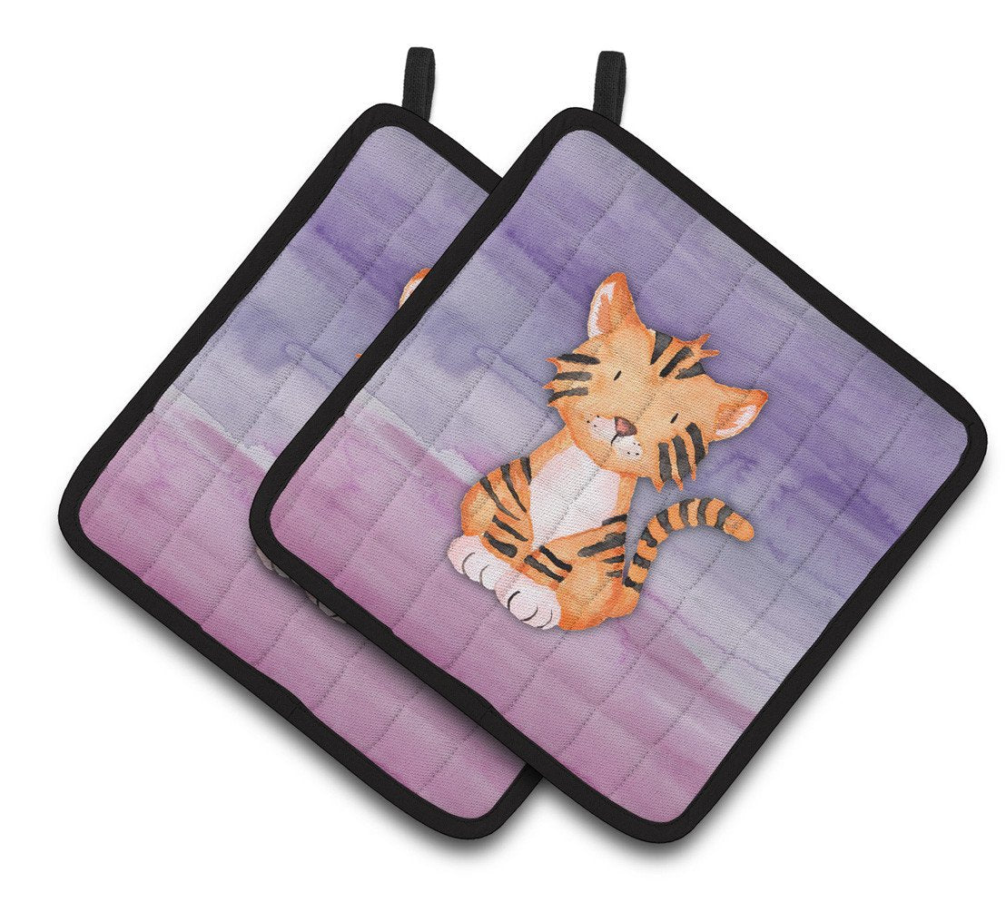 Buy this Tiger Cub Watercolor Pair of Pot Holders BB7444PTHD