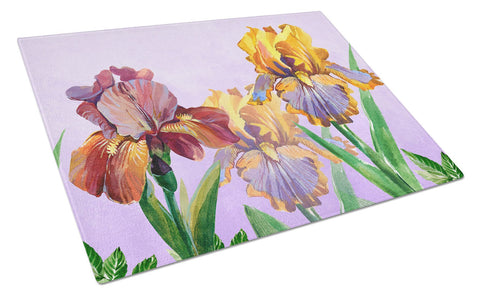 Buy this Purple and Yellow Iris Glass Cutting Board Large BB7445LCB