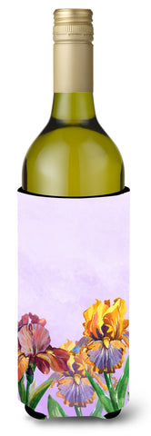 Buy this Purple and Yellow Iris Wine Bottle Beverge Insulator Hugger BB7445LITERK