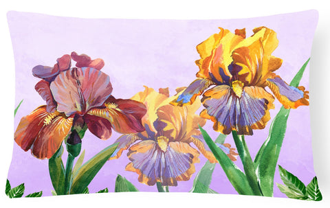 Buy this Purple and Yellow Iris Canvas Fabric Decorative Pillow BB7445PW1216