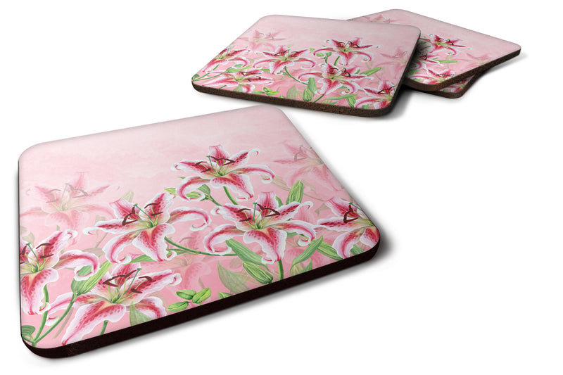 Buy this Pink Lillies Foam Coaster Set of 4 BB7446FC