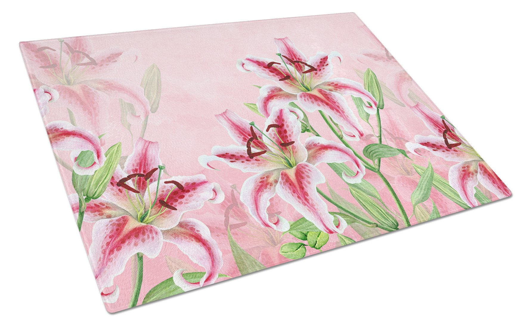Pink Lillies Glass Cutting Board Large BB7446LCB by Caroline's Treasures