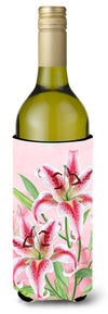 Pink Lillies Wine Bottle Beverge Insulator Hugger BB7446LITERK by Caroline's Treasures