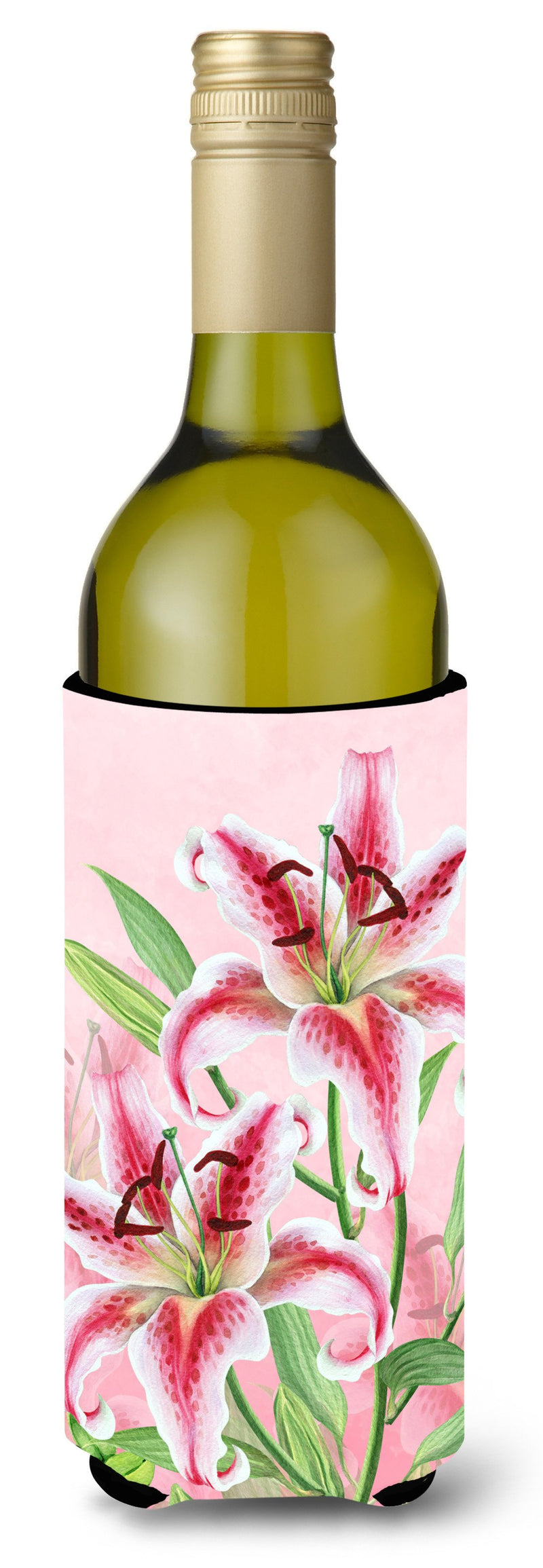 Buy this Pink Lillies Wine Bottle Beverge Insulator Hugger BB7446LITERK