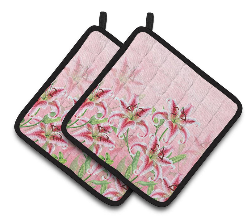 Buy this Pink Lillies Pair of Pot Holders BB7446PTHD