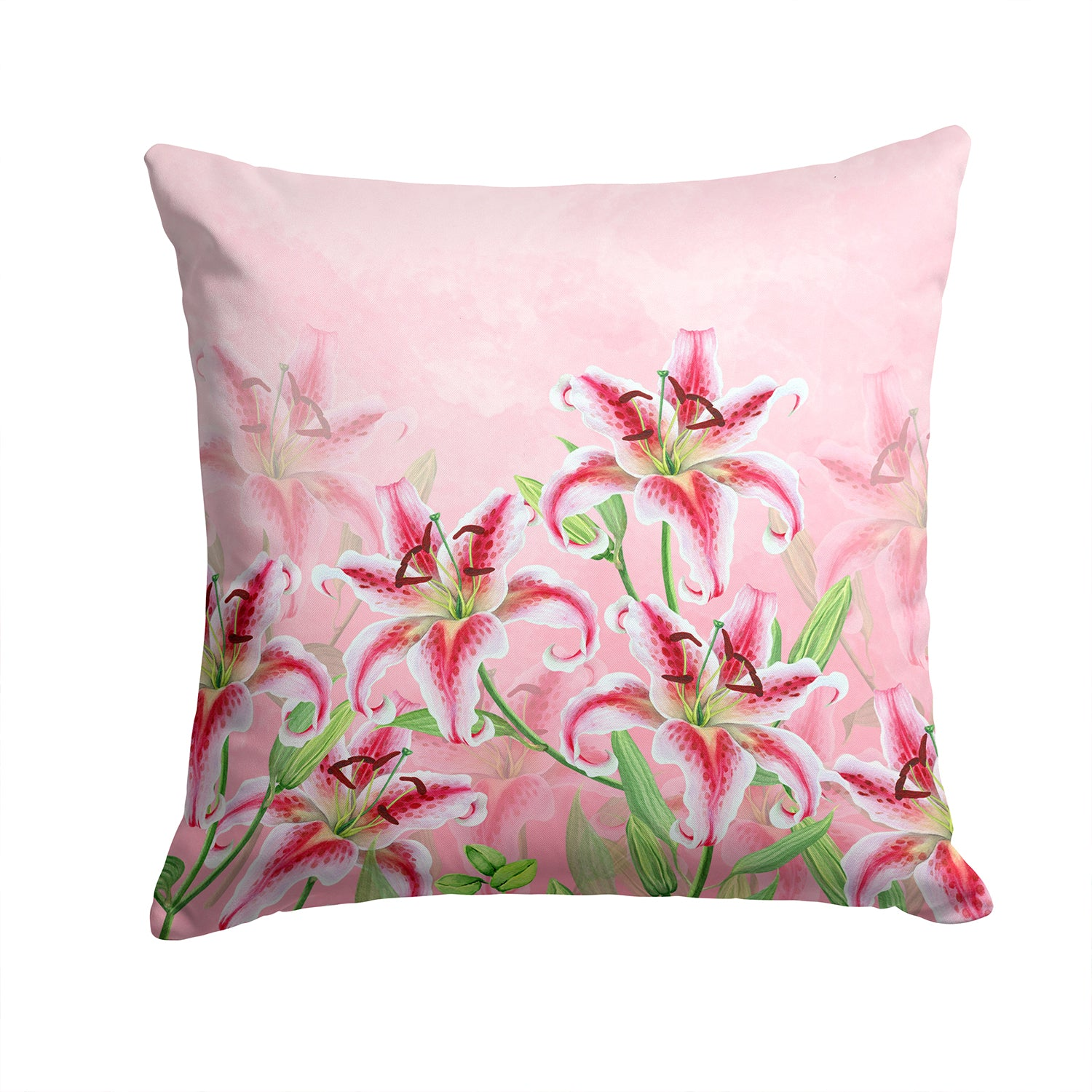 Buy this Pink Lillies Fabric Decorative Pillow BB7446PW1414