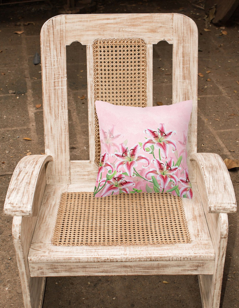 Buy this Pink Lillies Fabric Decorative Pillow BB7446PW1818