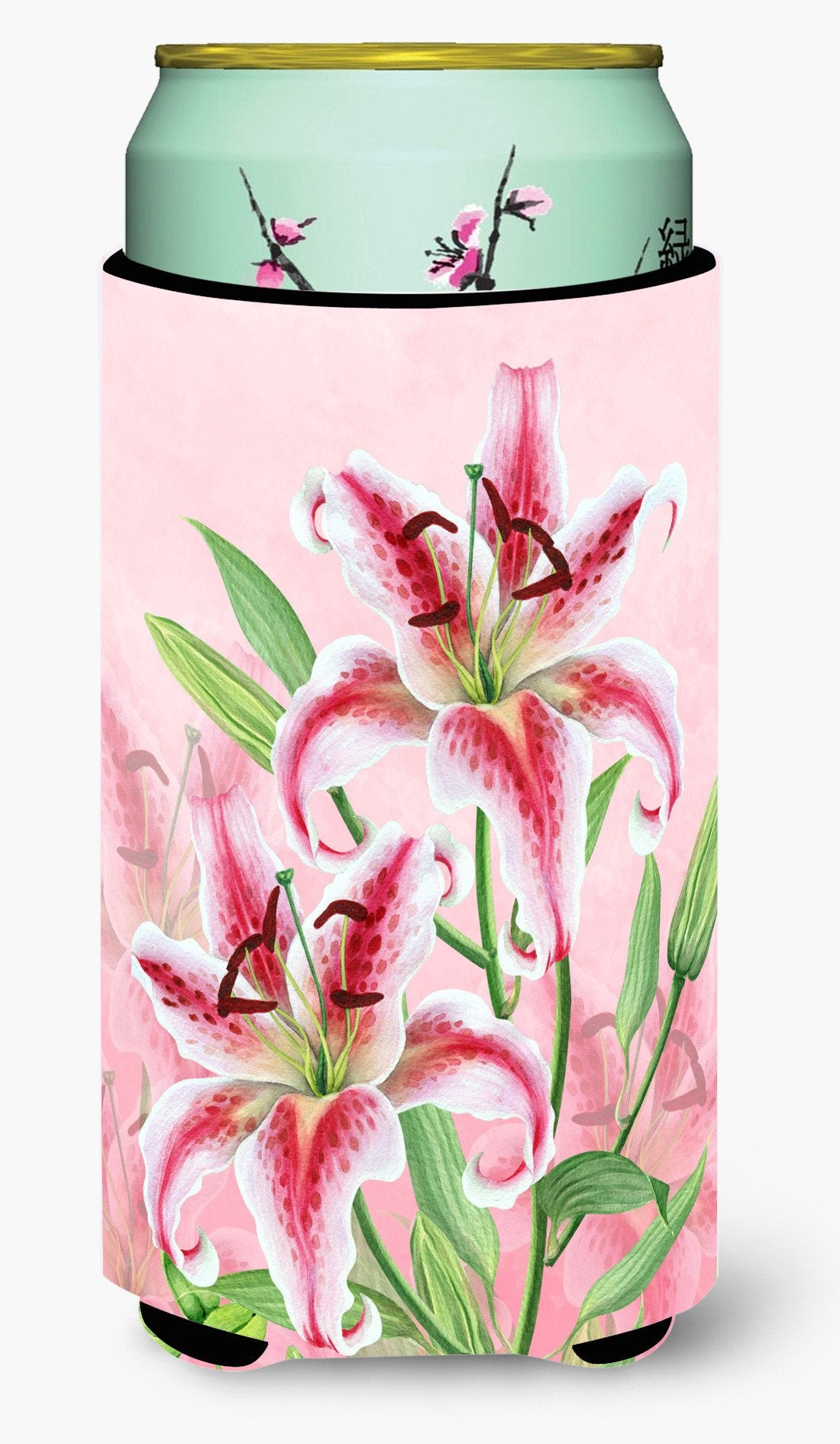 Pink Lillies Tall Boy Beverage Insulator Hugger BB7446TBC by Caroline's Treasures