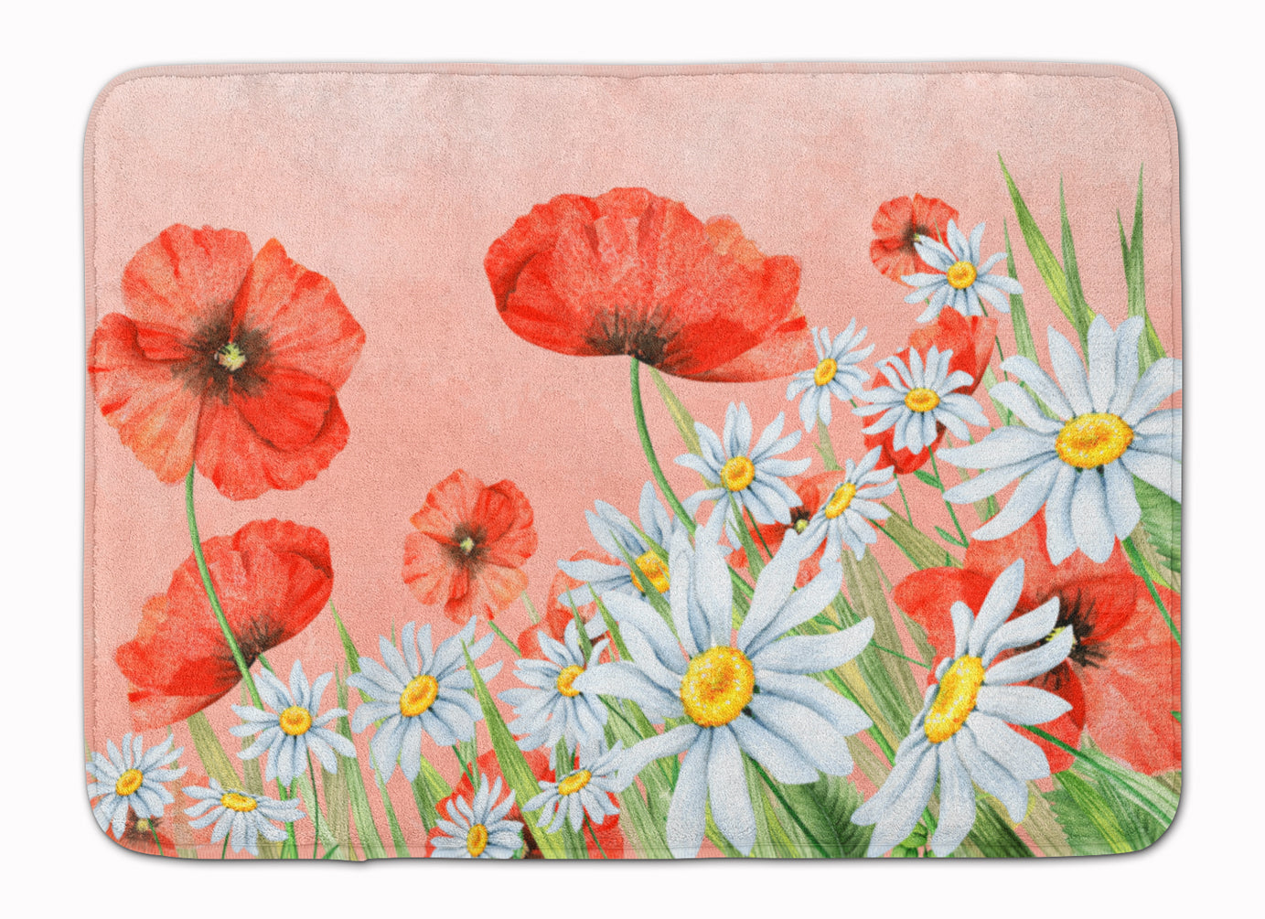 Poppies and Chamomiles Machine Washable Memory Foam Mat BB7448RUG by Caroline's Treasures