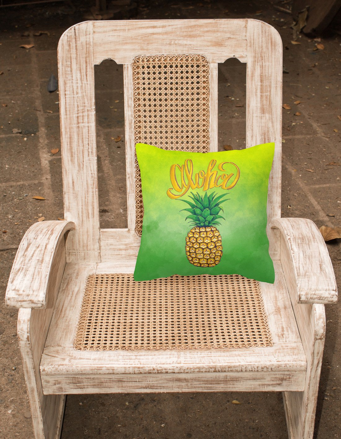 Aloha Pineapple Welcome Fabric Decorative Pillow BB7451PW1818 by Caroline's Treasures
