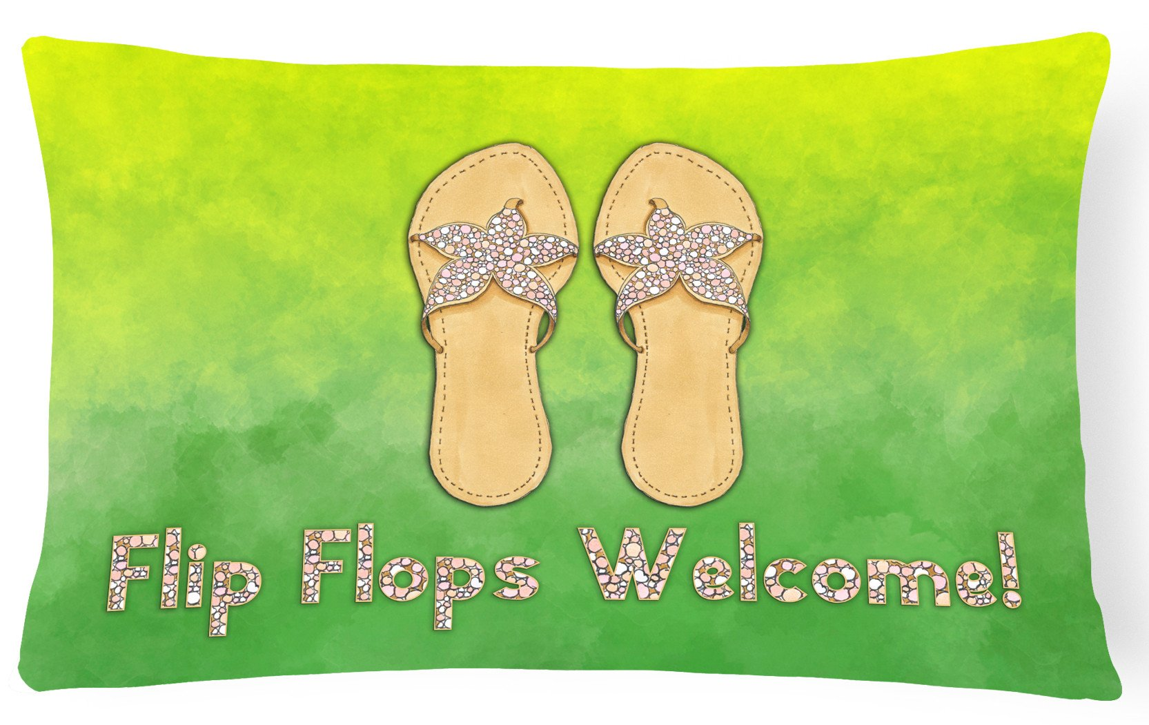 Flip Flops Welcome Canvas Fabric Decorative Pillow BB7454PW1216 by Caroline's Treasures