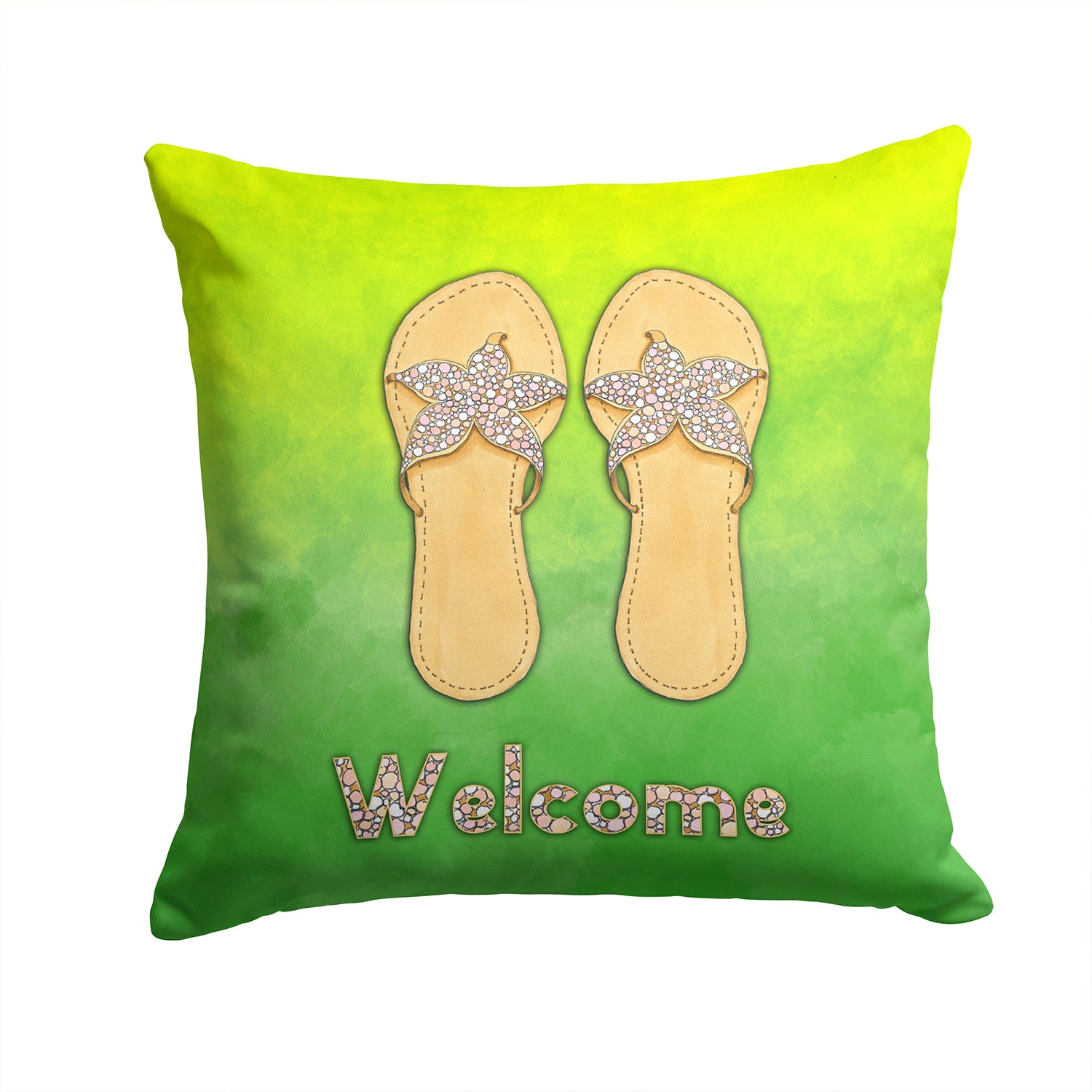 Flip Flops Welcome Fabric Decorative Pillow BB7454PW1414 by Caroline's Treasures
