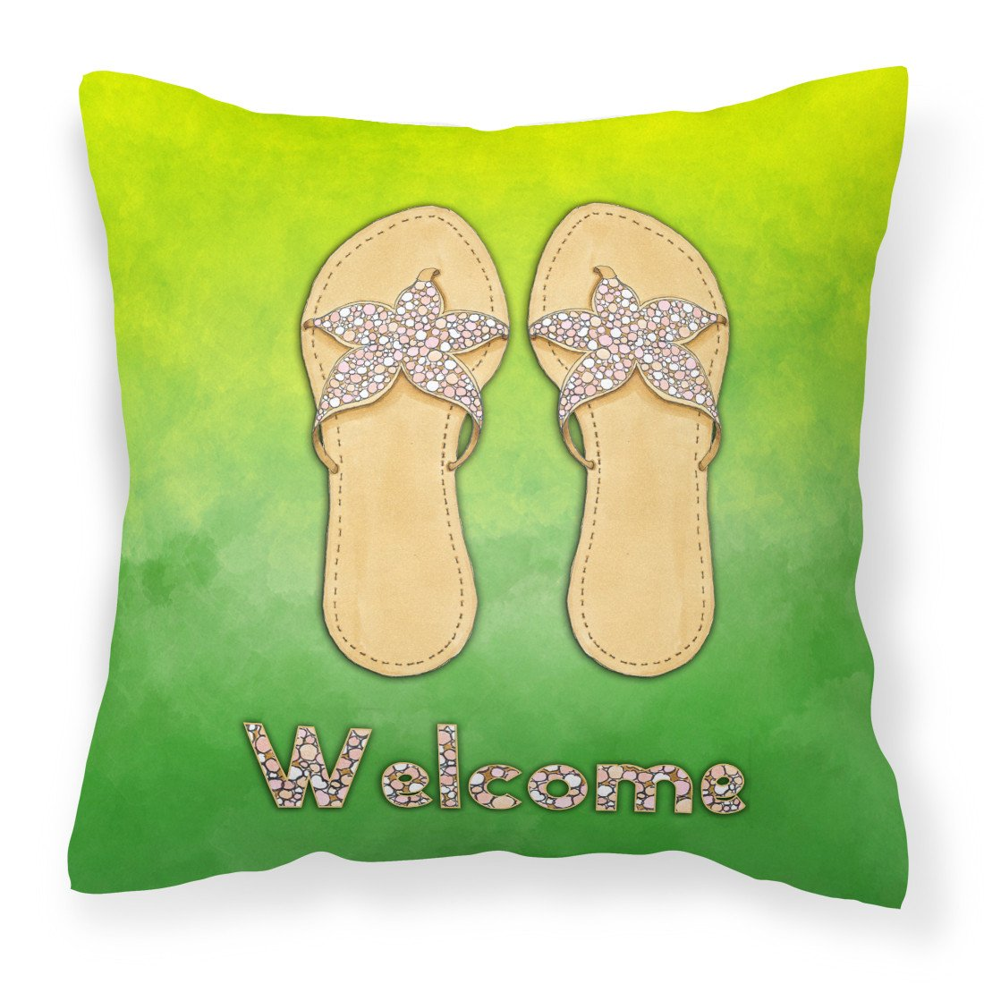 Flip Flops Welcome Fabric Decorative Pillow BB7454PW1818 by Caroline's Treasures