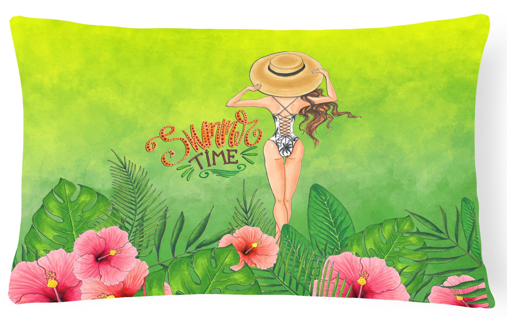 Summer Time Lady in Swimsuit Canvas Fabric Decorative Pillow BB7455PW1216 by Caroline's Treasures