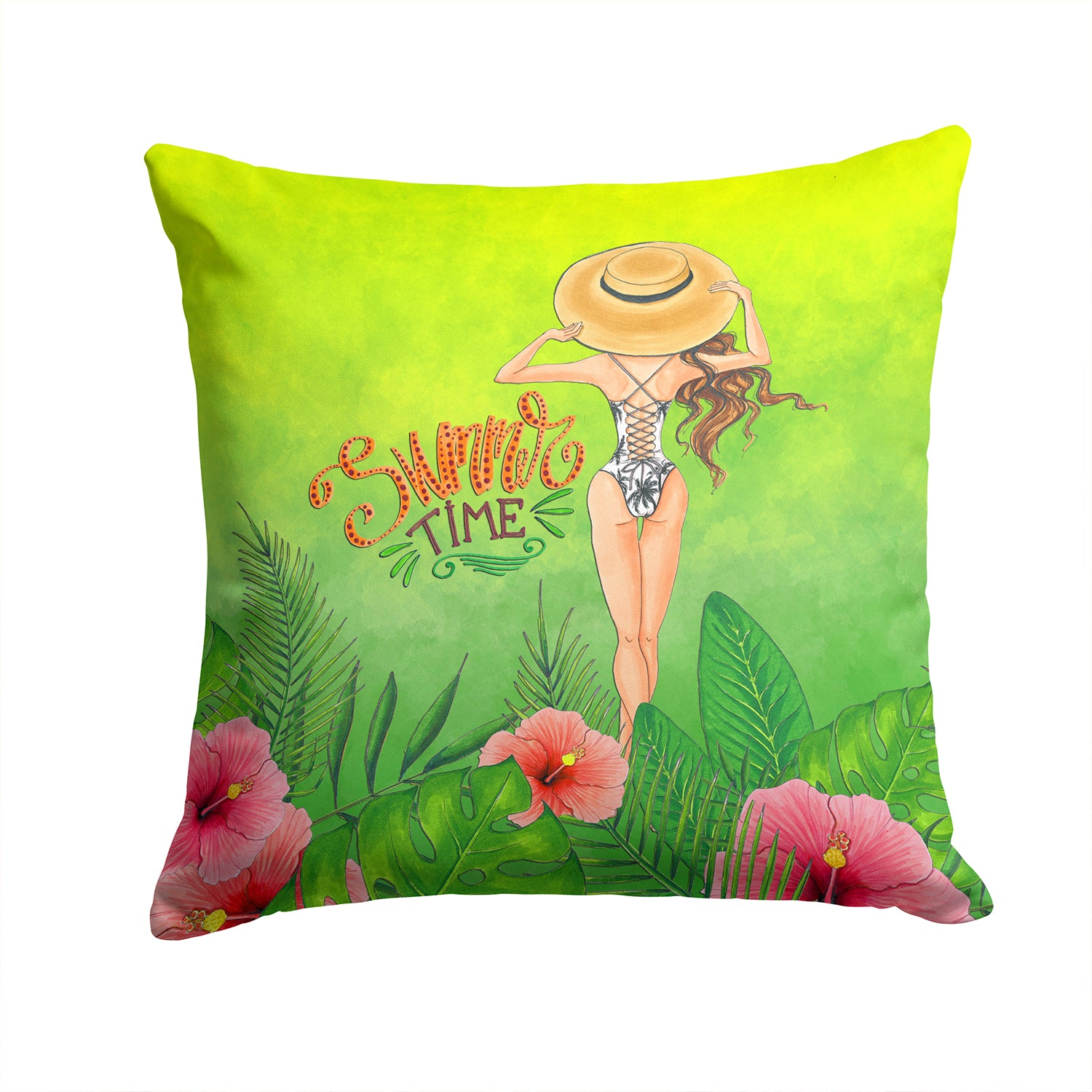 Summer Time Lady in Swimsuit Fabric Decorative Pillow BB7455PW1414 by Caroline's Treasures