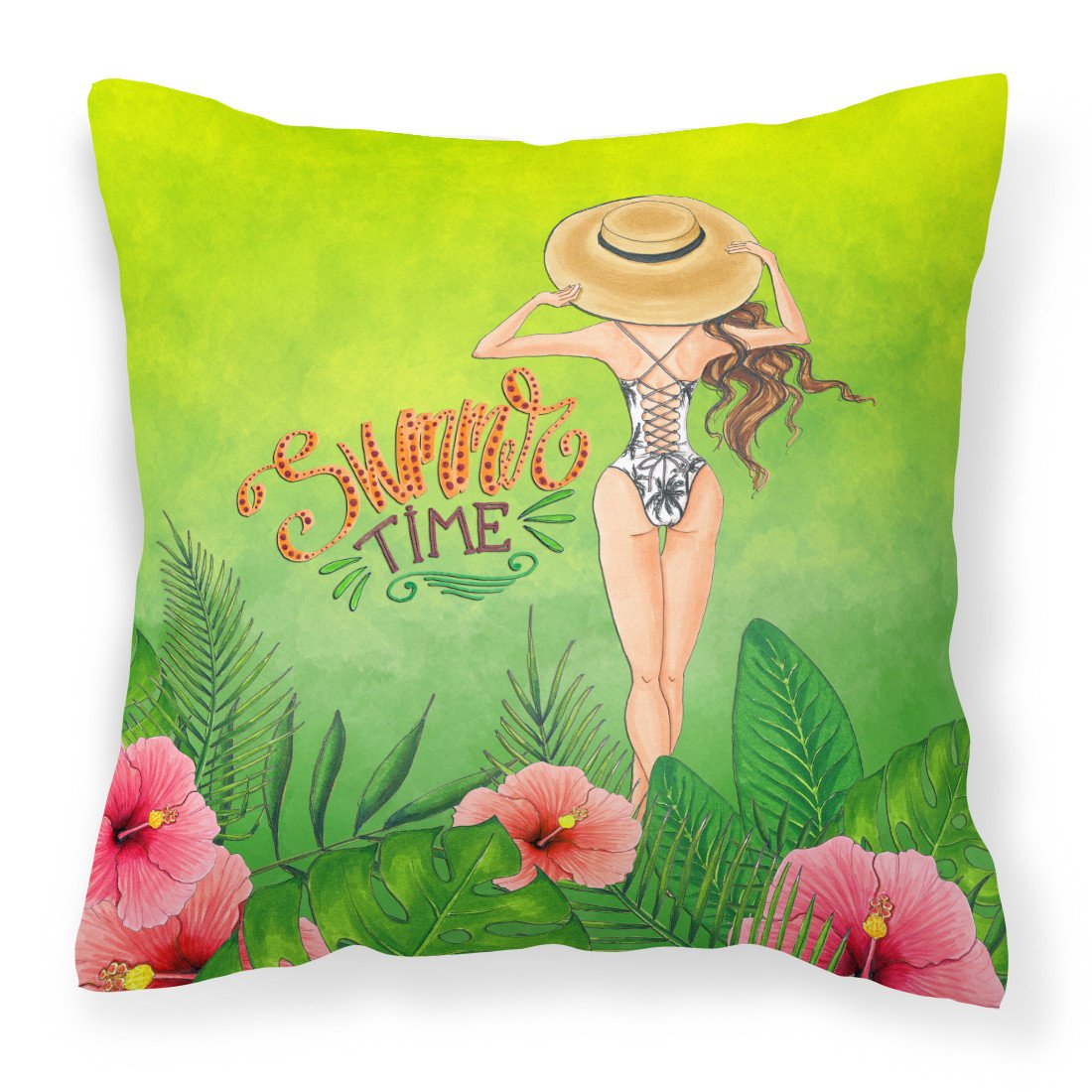 Summer Time Lady in Swimsuit Fabric Decorative Pillow BB7455PW1818 by Caroline's Treasures