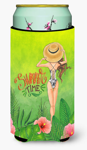 Buy this Summer Time Lady in Swimsuit Tall Boy Beverage Insulator Hugger BB7455TBC
