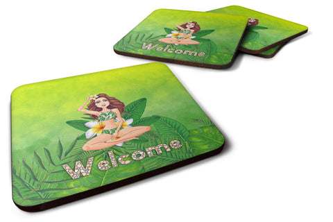 Buy this Welcome Lady in Bikini Summer Foam Coaster Set of 4 BB7457FC