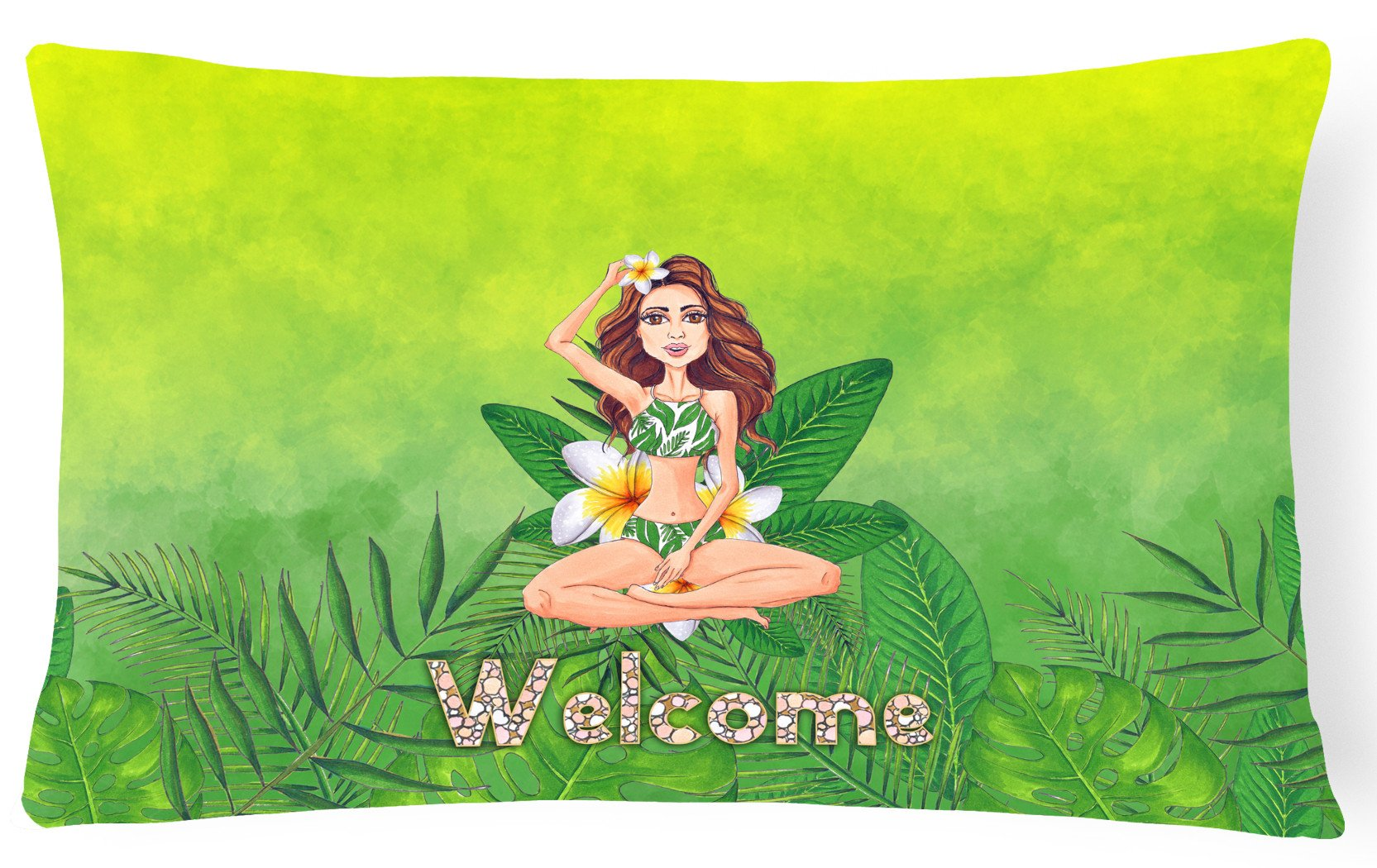 Welcome Lady in Bikini Summer Canvas Fabric Decorative Pillow BB7457PW1216 by Caroline's Treasures