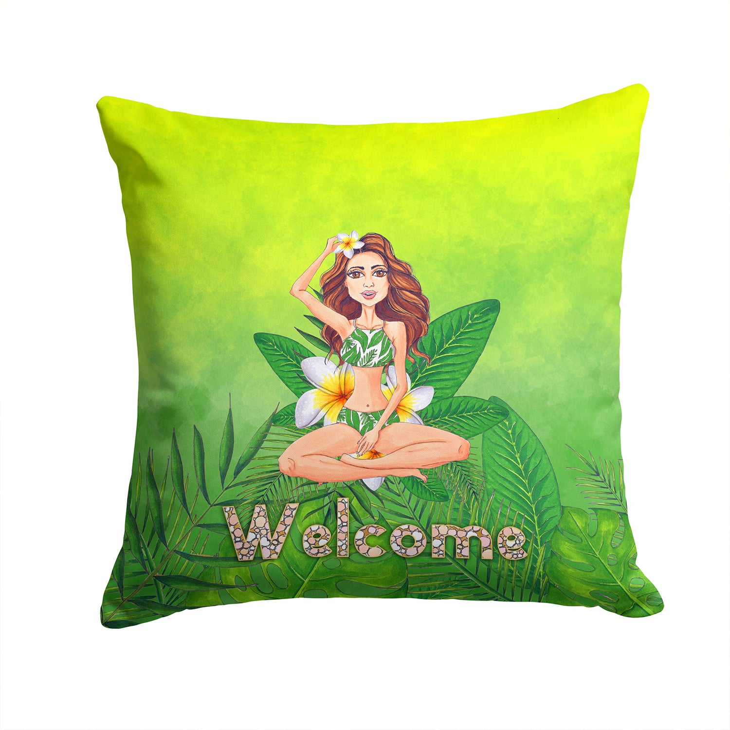 Welcome Lady in Bikini Summer Fabric Decorative Pillow BB7457PW1414 by Caroline's Treasures