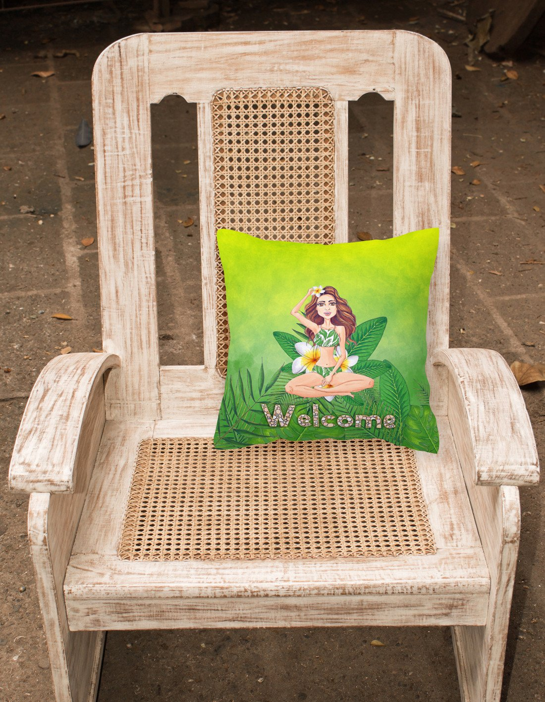 Welcome Lady in Bikini Summer Fabric Decorative Pillow BB7457PW1818 by Caroline's Treasures