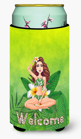 Buy this Welcome Lady in Bikini Summer Tall Boy Beverage Insulator Hugger BB7457TBC