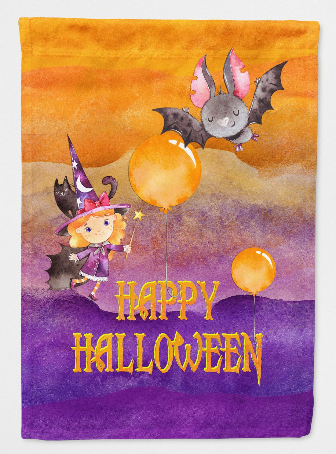 Buy this Halloween Little Witch and Bat Flag Garden Size BB7458GF