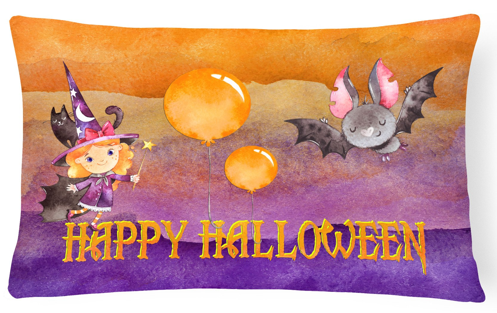 Halloween Little Witch and Bat Canvas Fabric Decorative Pillow BB7458PW1216 by Caroline's Treasures