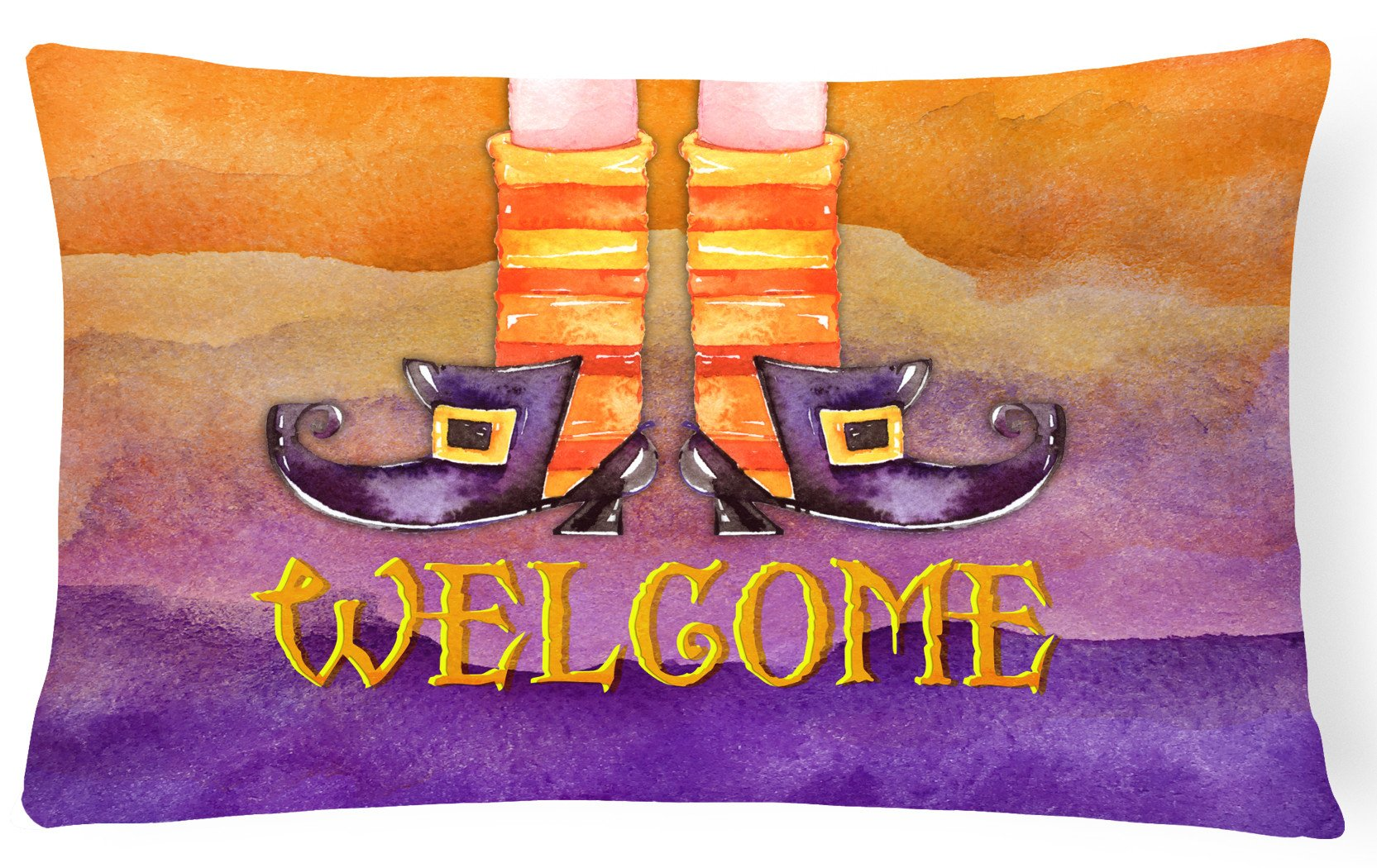 Halloween Welcome Witches Feet Canvas Fabric Decorative Pillow BB7459PW1216 by Caroline's Treasures
