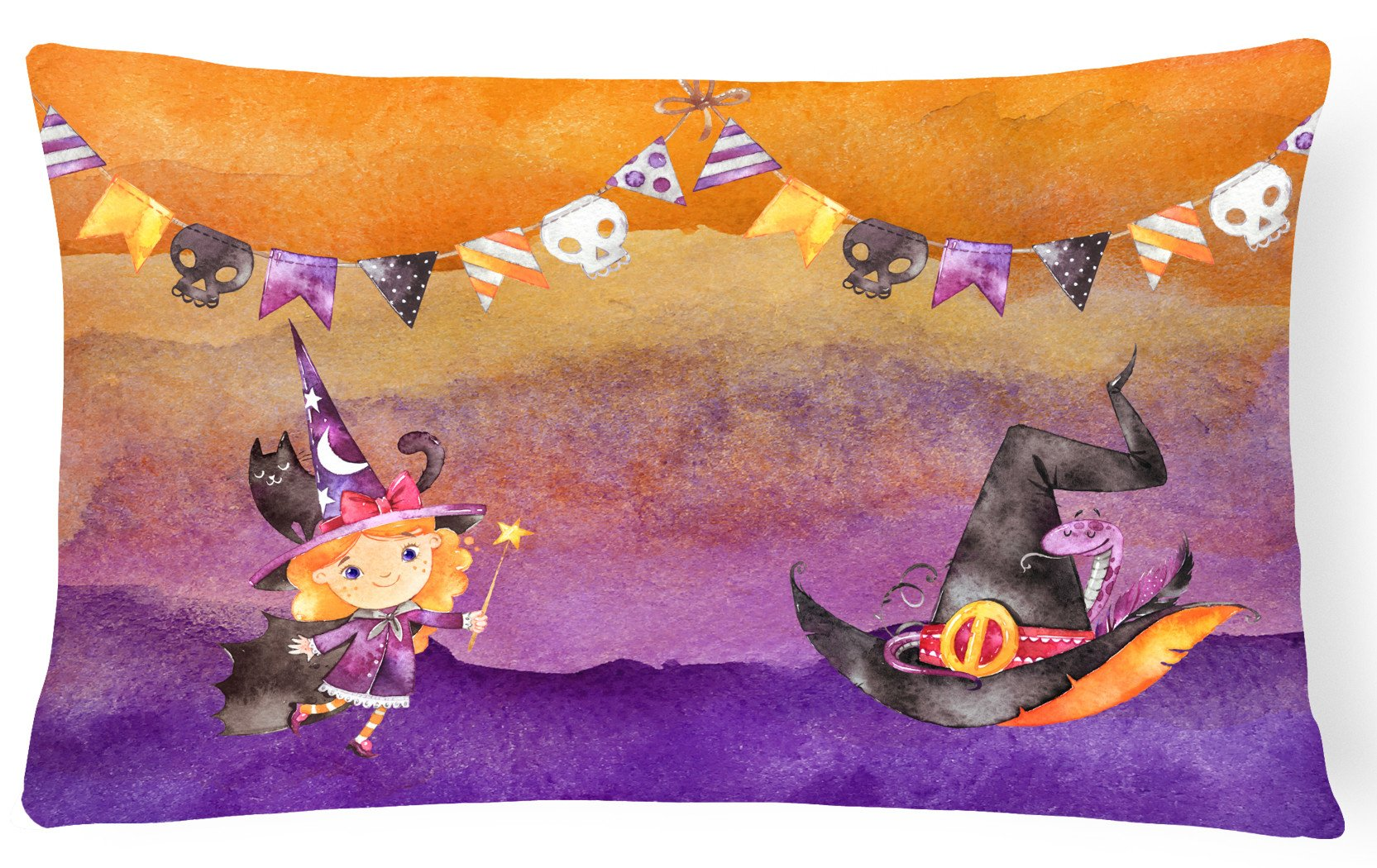 Halloween Little Witch Party Canvas Fabric Decorative Pillow BB7462PW1216 by Caroline's Treasures