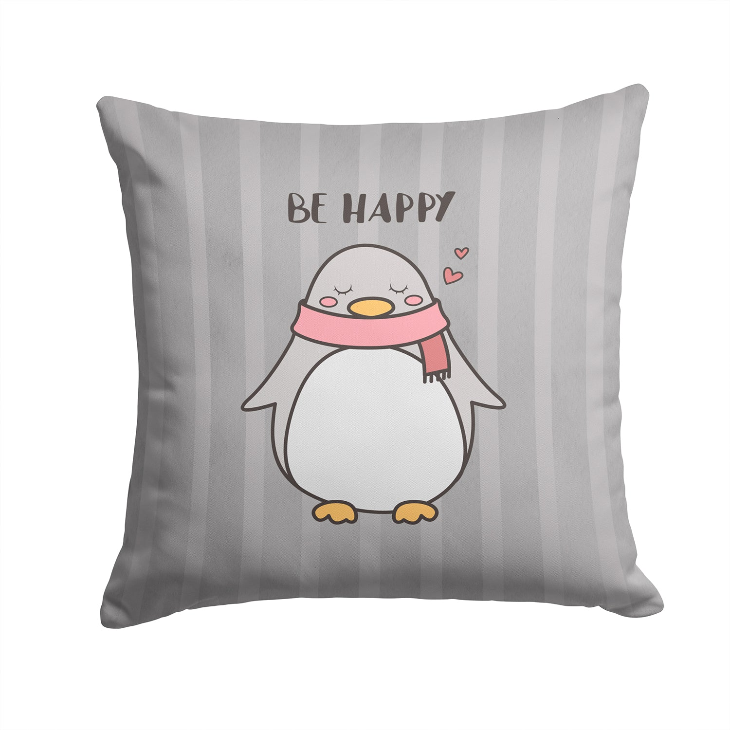 Nursery Be Happy Penquin Fabric Decorative Pillow BB7478PW1414 by Caroline's Treasures