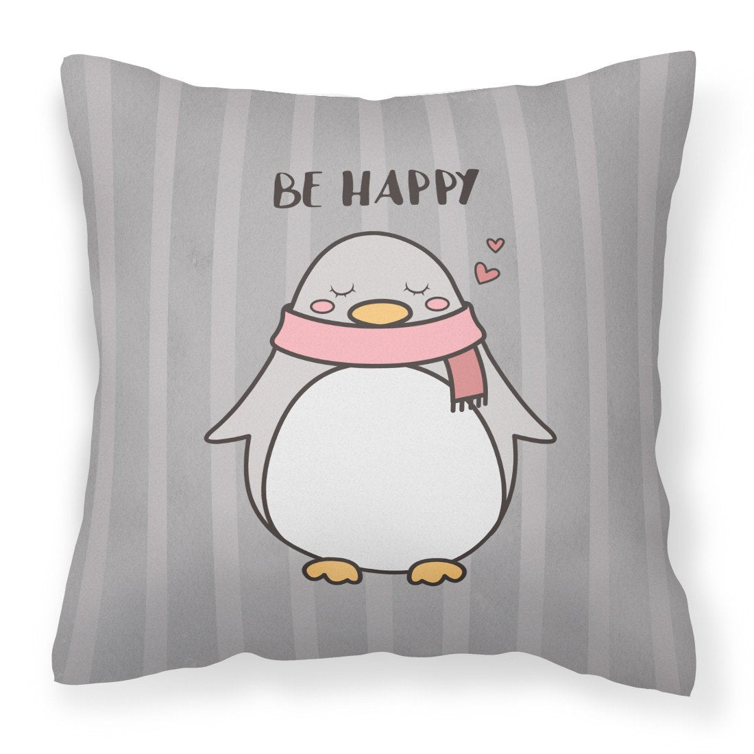 Nursery Be Happy Penquin Fabric Decorative Pillow BB7478PW1818 by Caroline's Treasures