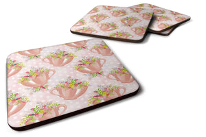 Buy this Tea Cup and Flowers Pink Foam Coaster Set of 4 BB7481FC