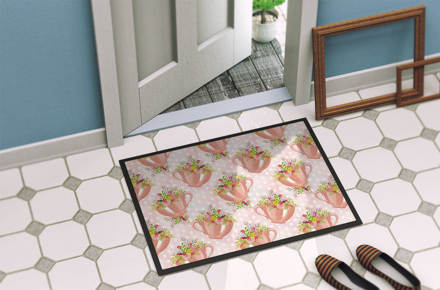 Buy this Tea Cup and Flowers Pink Indoor or Outdoor Mat 24x36 BB7481JMAT