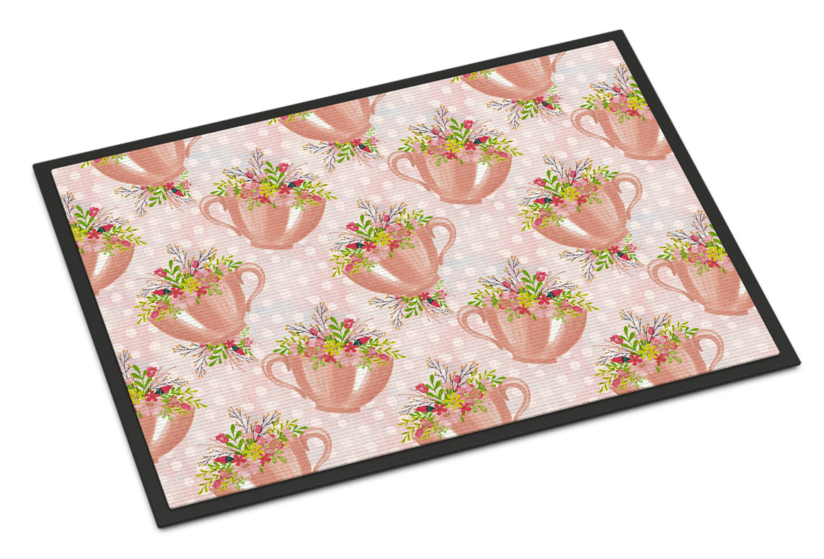 Buy this Tea Cup and Flowers Pink Indoor or Outdoor Mat 18x27 BB7481MAT