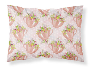 Buy this Tea Cup and Flowers Pink Fabric Standard Pillowcase BB7481PILLOWCASE
