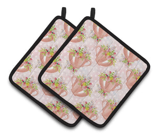 Buy this Tea Cup and Flowers Pink Pair of Pot Holders BB7481PTHD