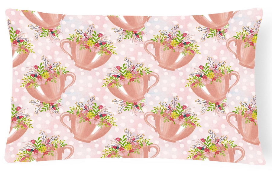 Buy this Tea Cup and Flowers Pink Canvas Fabric Decorative Pillow BB7481PW1216
