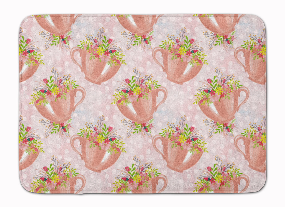Buy this Tea Cup and Flowers Pink Machine Washable Memory Foam Mat BB7481RUG