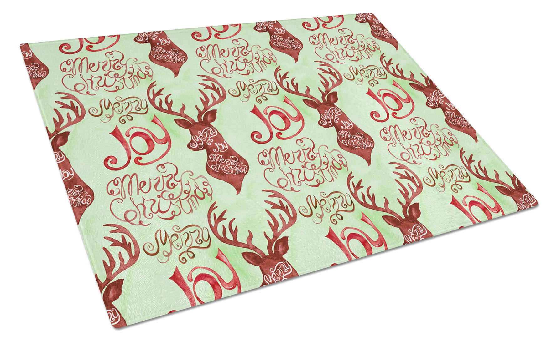 Merry Christmas Joy Reindeer Glass Cutting Board Large BB7488LCB by Caroline's Treasures