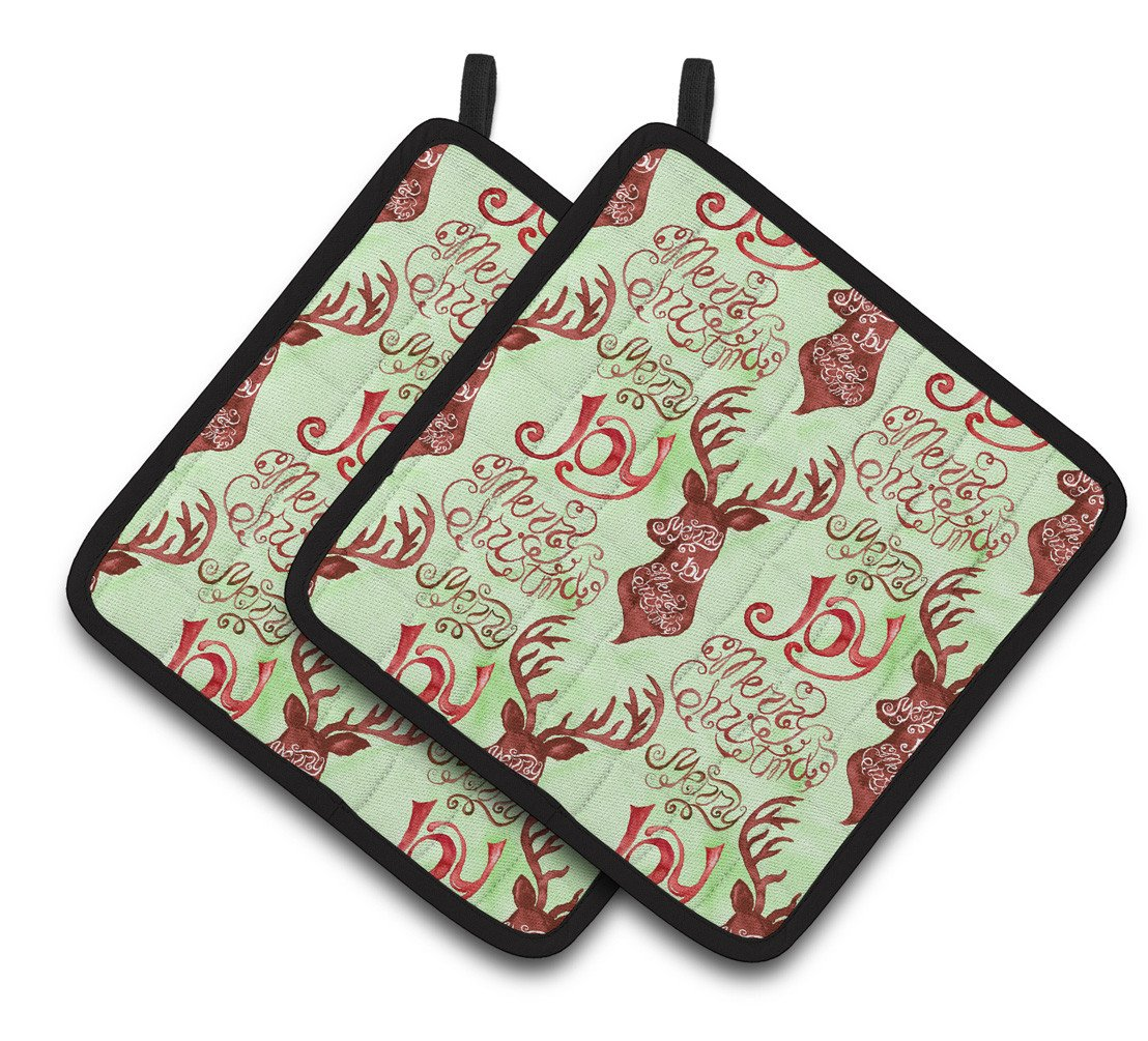 Buy this Merry Christmas Joy Reindeer Pair of Pot Holders BB7488PTHD