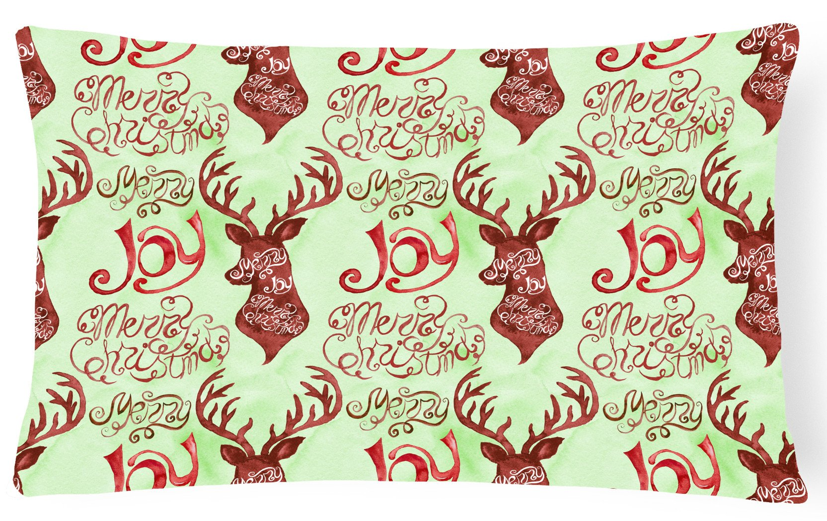 Buy this Merry Christmas Joy Reindeer Canvas Fabric Decorative Pillow BB7488PW1216