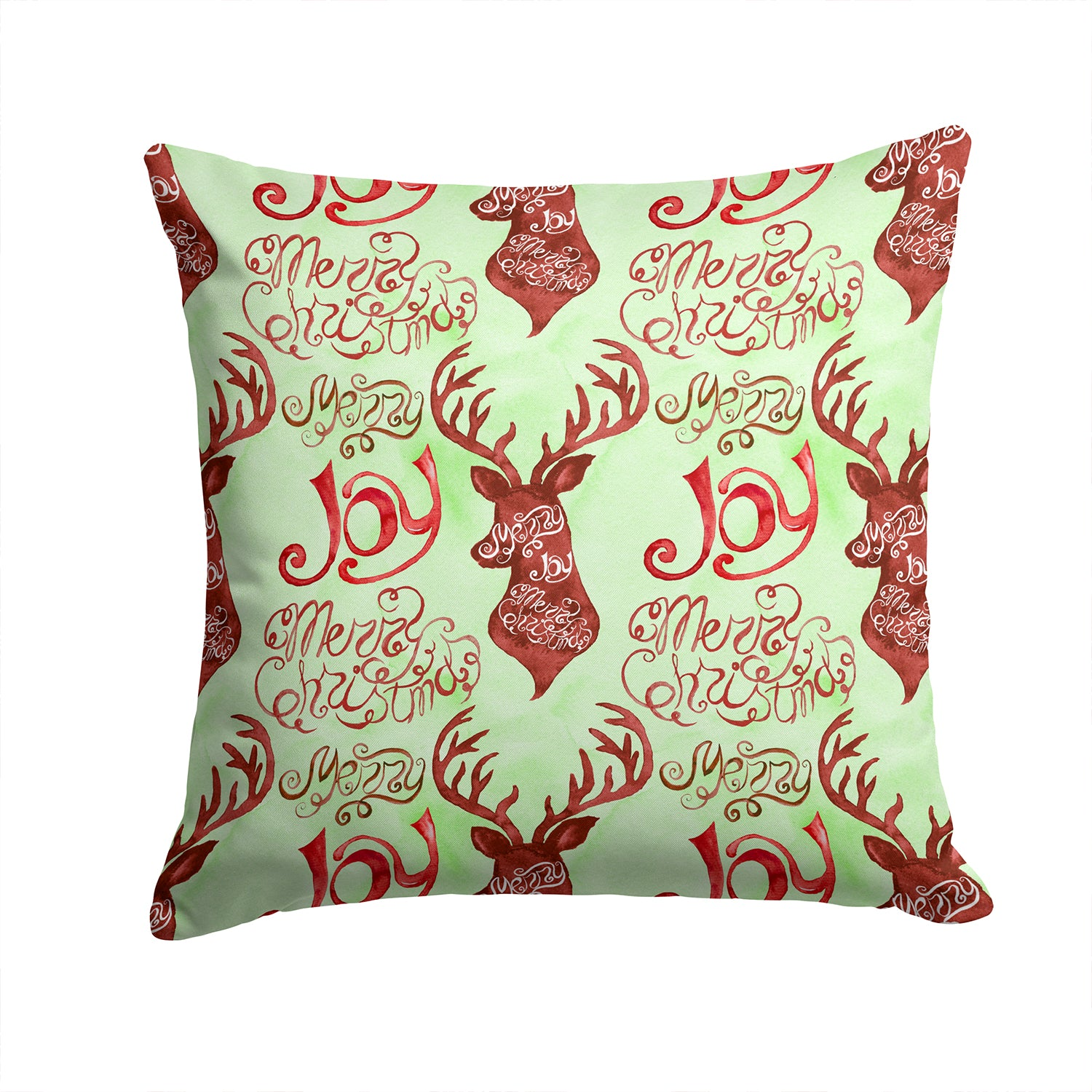 Merry Christmas Joy Reindeer Fabric Decorative Pillow BB7488PW1414 by Caroline's Treasures