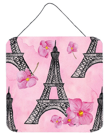 Buy this Watercolor Pink Flowers and Eiffel Tower Wall or Door Hanging Prints BB7511DS66
