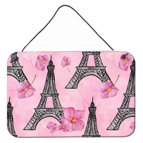 Buy this Watercolor Pink Flowers and Eiffel Tower Wall or Door Hanging Prints BB7511DS812