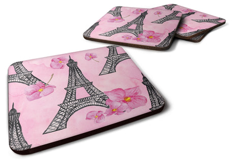 Buy this Watercolor Pink Flowers and Eiffel Tower Foam Coaster Set of 4 BB7511FC