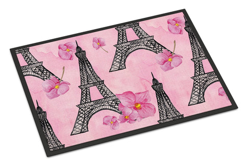 Buy this Watercolor Pink Flowers and Eiffel Tower Indoor or Outdoor Mat 24x36 BB7511JMAT
